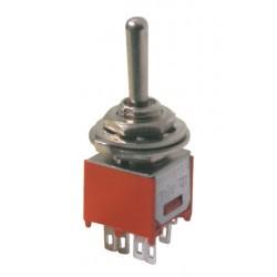 Prepínač páčkový 3pol. 6pin ON-OFF-ON mini