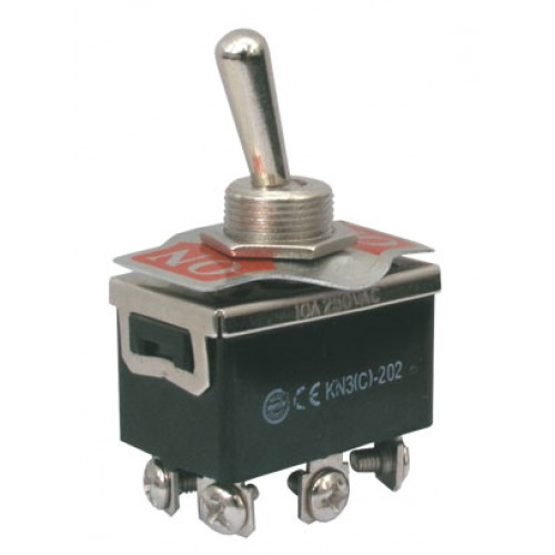 Prepínač páčkový 2pol. 6pin ON-ON 250V 10A skrutka