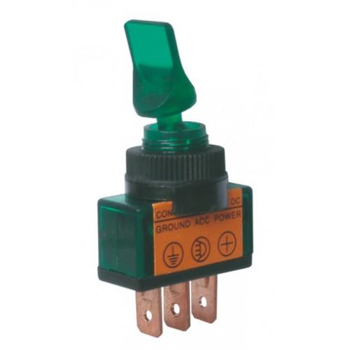 Prepínač páčkový 2pol. 3pin ON-OFF 12VDC prosv. zelený