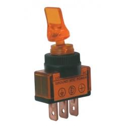 Prepínač páčkový 2pol. 3pin ON-OFF 12VDC prosv. žlutý