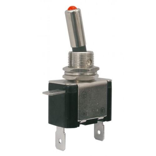 Prepínač páčkový 2pol. 2pin ON-OFF 12VDC 25A LED červená