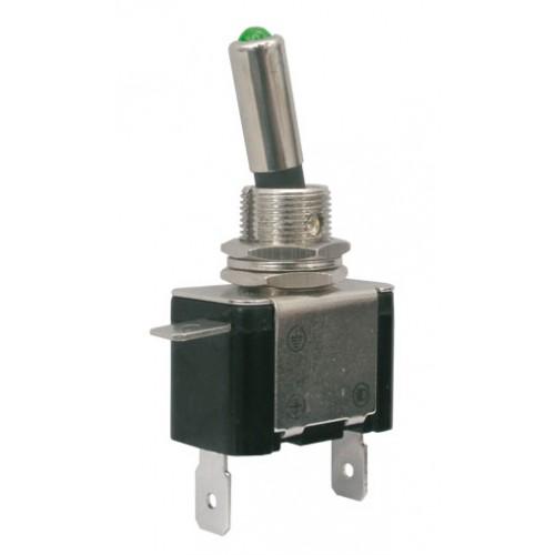 Prepínač páčkový 2pol. 2pin ON-OFF 12VDC 25A LED zelená