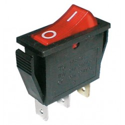 Prepínač kolískový 2pol. 3pin ON-OFF 250V 15A pros. červený