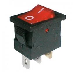 Prepínač kolískový 2pol. 3pin ON-OFF 250V 6A pros. červený