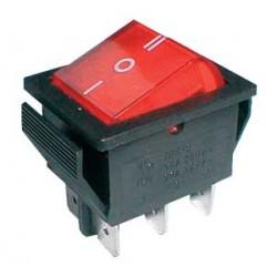 Prepínač kolískový 3pol. 6pin ON-OFF-ON 250V 15A stredný bod červený