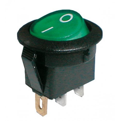Prepínač kolískový guľ. pros. 2pol. 3pin ON-OFF 250V 6A zelený