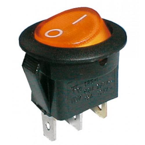 Prepínač kolískový guľ. pros. 2pol. 3pin ON-OFF 250V 6A žltý