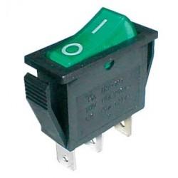 Prepínač kolískový 2pol. 3pin ON-OFF 250V 15A dec. zelený