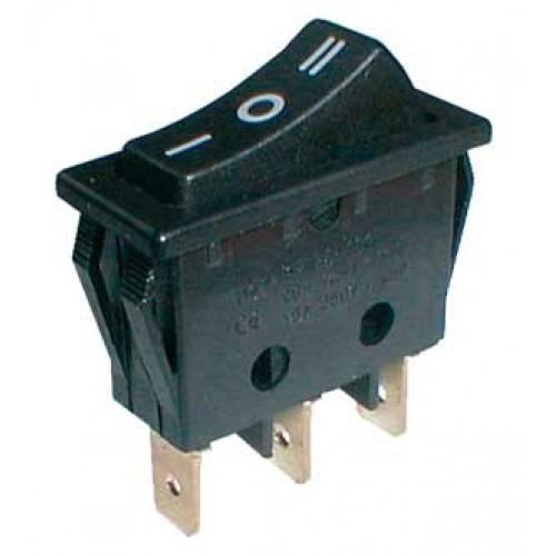 Prepínač kolískový 3pol. 3pin ON-OFF-ON 250V 15A čierny