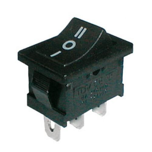 Prepínač kolískový 3pol. 3pin ON-OFF-ON 250V 6A černý