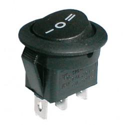 Prepínač kolískový kul. 3pol. 3pin ON-OFF-ON 250V 6A černý