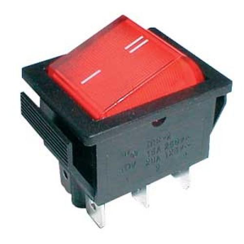 Prepínač kolískový 2pol. 6pin ON-ON 250V 15A červený