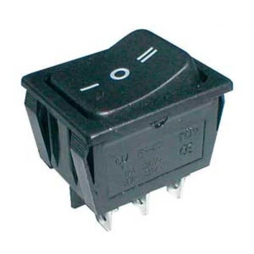 Prepínač kolískový 3pol. 6pin ON-OFF-ON 250V 15A čierny