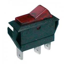 Prepínač kolískový 2pol. 3pin ON-OFF 20A 12VDC pros. červený