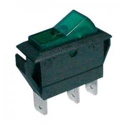 Prepínač kolískový 2pol. 3pin ON-OFF 20A 12VDC pros. zelený