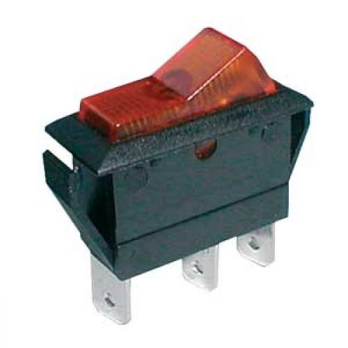 Prepínač kolískový 2pol. 3pin ON-OFF 20A 12VDC pros. žltý