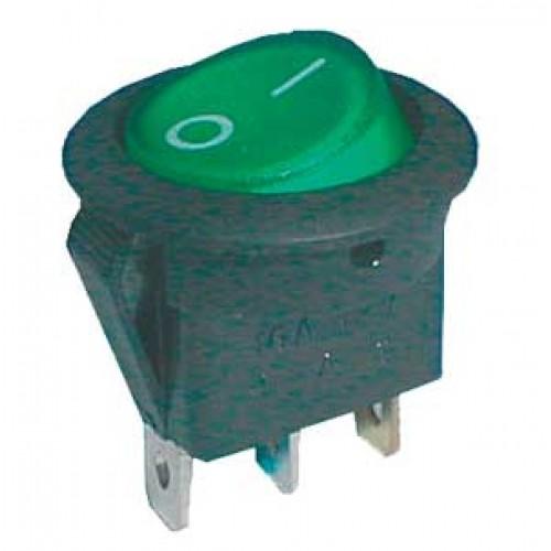 Prepínač kolískový kul. pros. 2pol. 3pin ON-OFF 16A 12VDC zelený