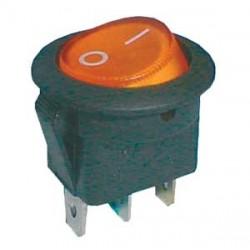 Prepínač kolískový guľ. dec. 2pol. 3pin ON-OFF 16A 12VDC žltý
