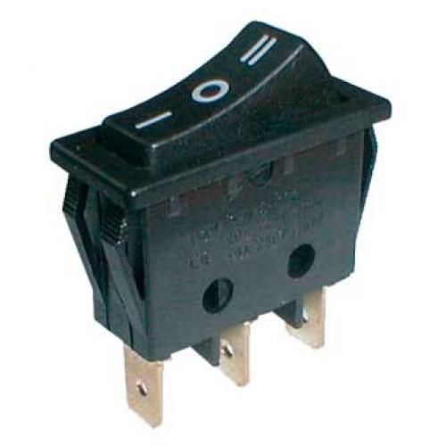 Prepínač kolískový 3pol. 3pin (ON) -OFF- (ON) 250V 15A čierny