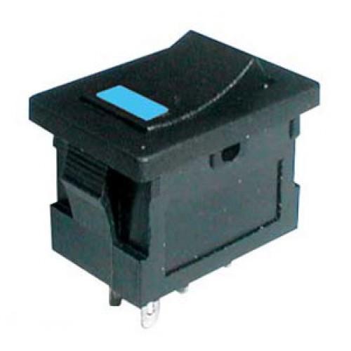 Prepínač kolískový 2pol. 4pin ON-OFF 250V 3A LED modrý