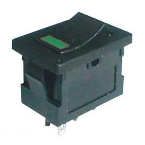 Prepínač kolískový 2pol. 4pin ON-OFF 250V 3A LED zelený