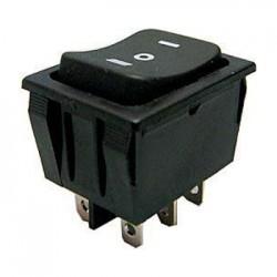 Prepínač kolískový 3pol. 6pin (ON)-OFF-(ON) 250V 15A čierny
