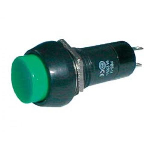 Prepínač tlačítko kul. ON-OFF 250V 1A zelené