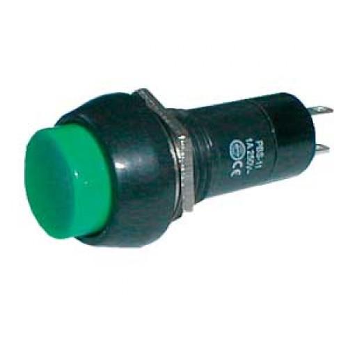 Prepínač tlačítko kul. OFF-(ON) 250V 1A zelené