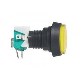Prepínač tlačítko okrúhle ON-(ON) 250V/10A s mikrospínačom žlté