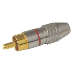 Konektor CINCH kábel kov nikel pr. 5mm červený