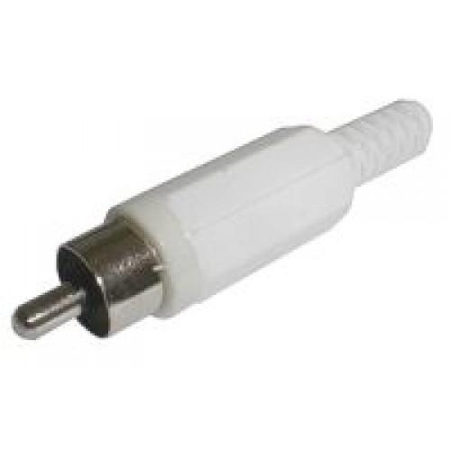 Konektor CINCH kábel plast biely