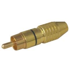 Konektor CINCH kábel kov zlatý pr.6mm čierny
