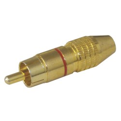 Konektor CINCH kábel kov zlatý pr.6mm červený