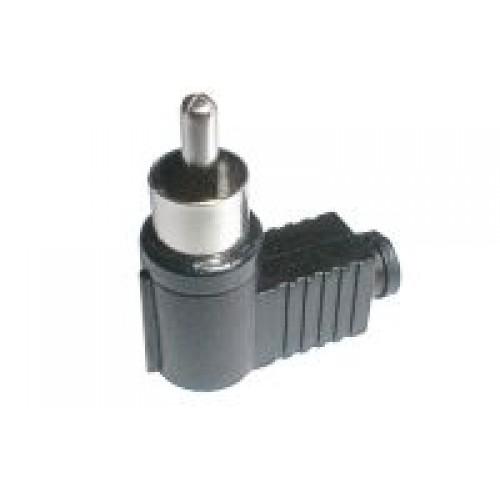 Konektor CINCH kábel plast uhlový čierny