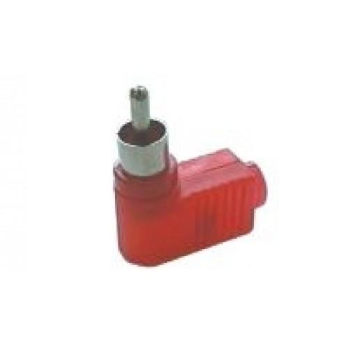 Konektor CINCH kábel plast úhlový červený
