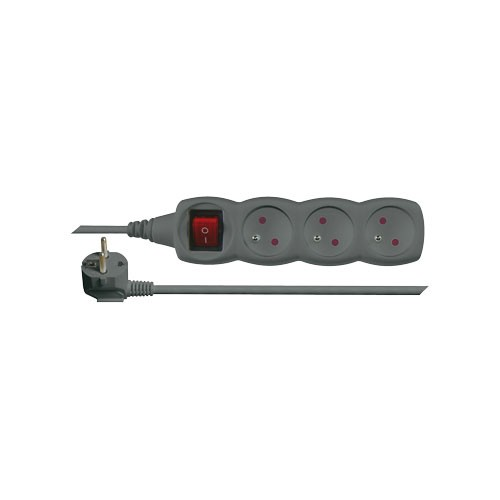 Predlžovací prívod s vypínačom 3 zásuvky 1,5m čierny