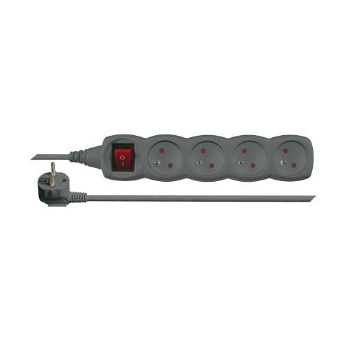 Predlžovací prívod s vypínačom 4 zásuvky 3m čierny