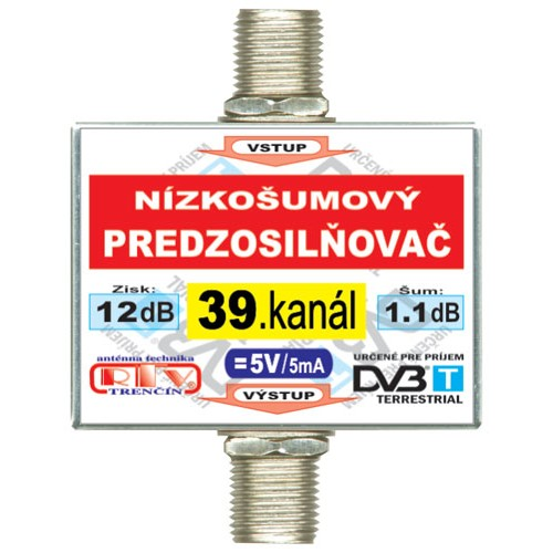 Anténny zosilňovač DVB-T 39K 5V 12dB F-F
