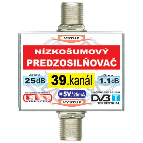 Anténny zosilňovač DVB-T 39K 5V 25dB F-F