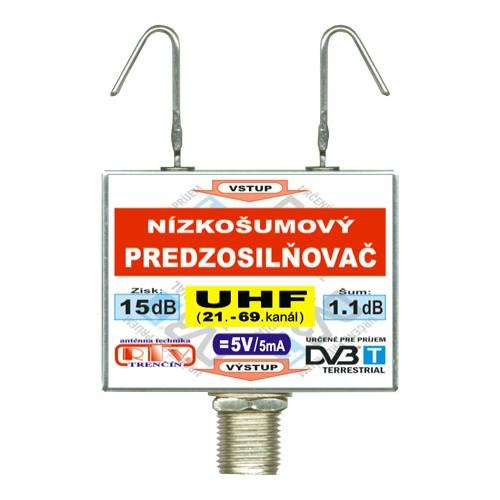 Antenný zosilňovač DVB-T UHF 5V 15dB F